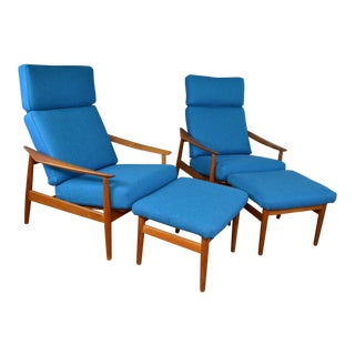 Matching Pair of Arne Vodder for France & Sons Danish Teak Reclining Lounge Chairs With Ottomans