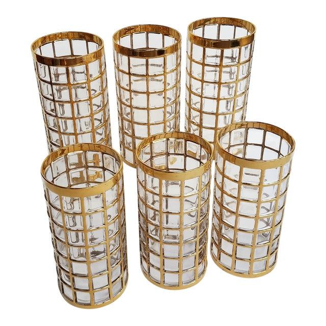 Mid Century Vintage Imperial Glass Hollywood Regency Gilt Tumbler Glasses- Set of 6 For Sale