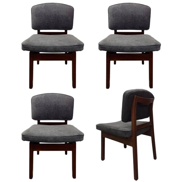 Set of Four Walnut Jens Risom Chairs For Sale