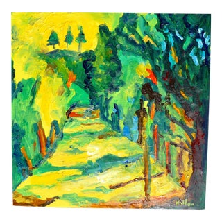 """Sunlit Path in France"" Contemporary Abstract Landscape Oil Painting by Martha Holden For Sale"