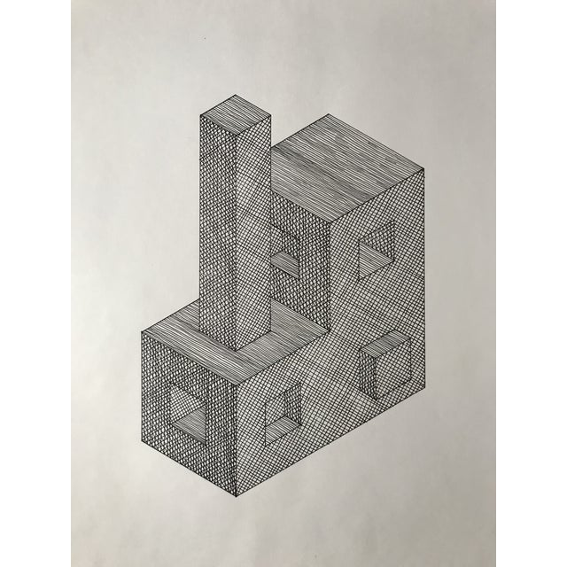 Hand drawn and hatched rectangular prism shapes in black ink. Drawn on archive quality white paper. Unframed.