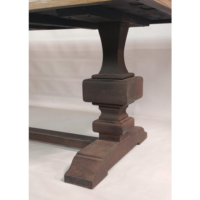 Arts & Crafts Reclaimed Wood Dining Table with Metal Like Trestle For Sale - Image 3 of 3