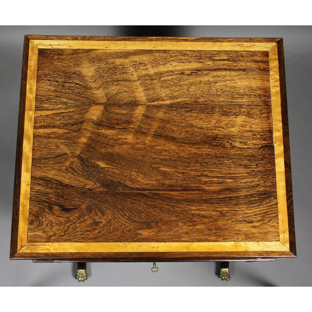 Traditional Unusual Regency Rosewood and Bird's-Eye Maple Music Table For Sale - Image 3 of 9