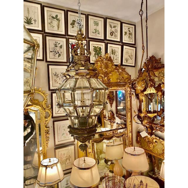 Fine 1900's French Bronze 6 Light Lantern With Lion Motif. A gorgeous and regal accent!