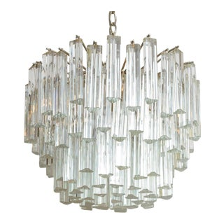 1960s Mid-Century Modern Lush Camer Glass Chandelier For Sale