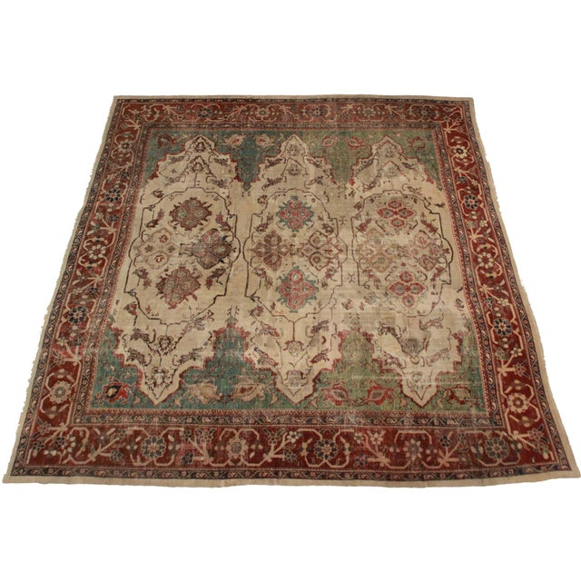 """Antique, unique, Oriental-style, hand-knotted wool Persian Sultanabad rug. Measures 12' 4"""" x 13' 9."""""""