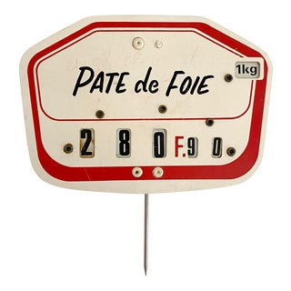 1960s French Pate De Foie Grocer's Tag For Sale