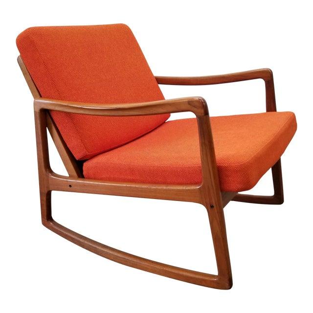 1960s Danish Modern Sculpted Teak Rocking Chair For Sale