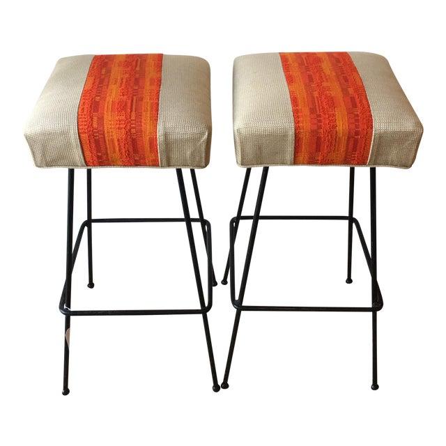 1950s Orange Striped Barstools - A Pair - Image 1 of 9