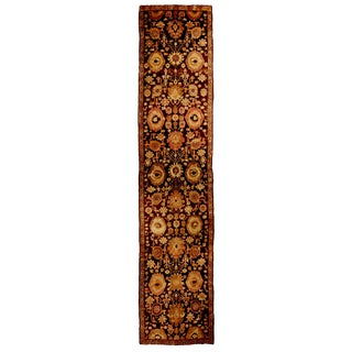 Antique Karabagh Brown and Beige Geometric-Floral Wool Runner Rug - 3′7″ × 17′10″ For Sale