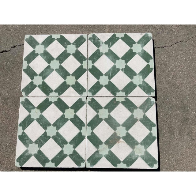 Moroccan Moroccan Encaustic Cement Tile Sample with Moorish Design For Sale - Image 3 of 7