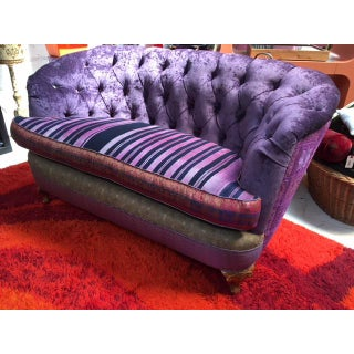 Reupholstered Upcycled Silk Purple Velvet Loveseat Preview