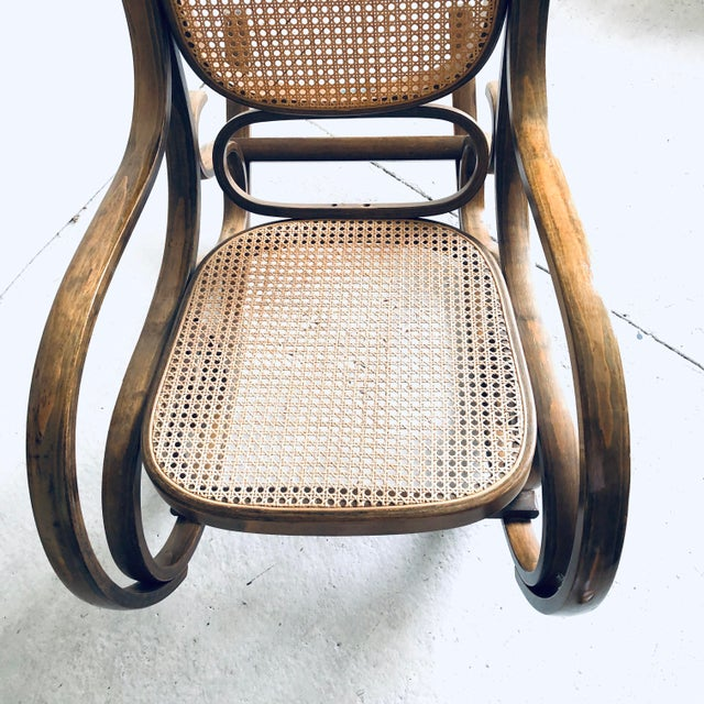 Bentwood and Caned Rocking Chair Thonet Style For Sale - Image 4 of 8