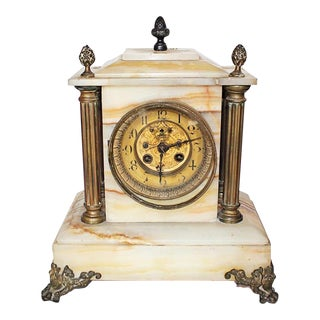 Antique French Onyx Marble Mantle Clock For Sale