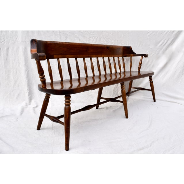 Farmhouse Pine Spindle Back Bench For Sale - Image 9 of 10