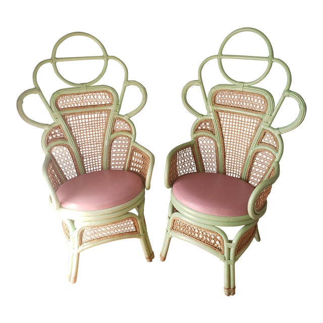 1980s Vintage Rattan Peacock Throne Chairs- A Pair For Sale