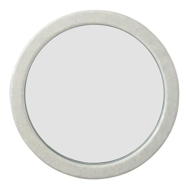 Large Round Karl Springer Style Mirror For Sale