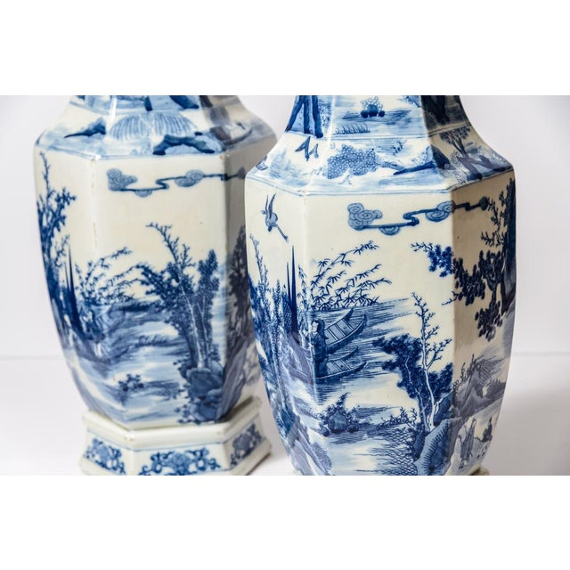 Ceramic 20th C. Tall Chinese Blue & White Vases - a Pair For Sale - Image 7 of 11