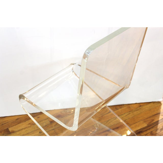 Transparent Modern Lucite 'Z' Cantilever Chair For Sale - Image 8 of 11