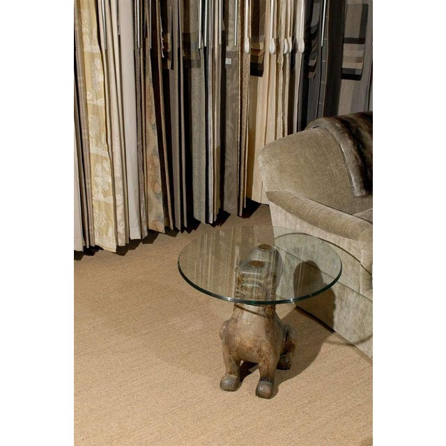 Sarreid Ltd. Dramatic Pair of Hand-Carved Foo Dog Tables by Sarreid Ltd For Sale - Image 4 of 11
