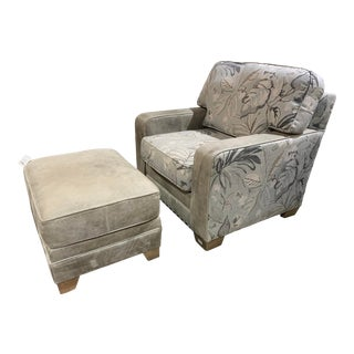 King Hickory Floral Fabric Chair With Leather Ottoman For Sale