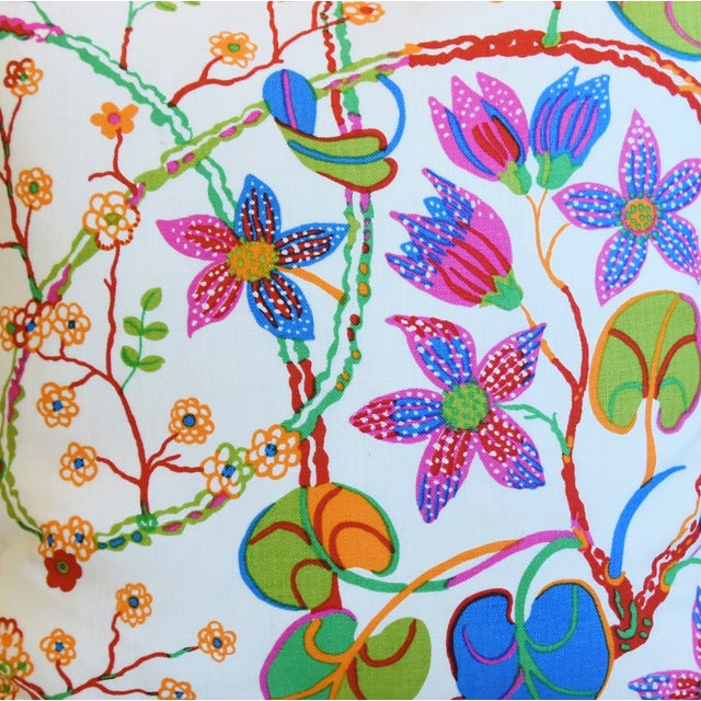 "Josef Frank Designer Josef Frank ""Teheran"" Floral Linen Feather/Down Pillows 18"" Square - Pair For Sale - Image 4 of 11"