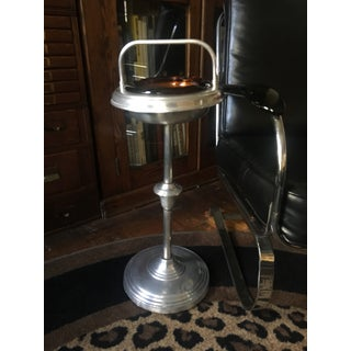 1940s Vintage Metal Smoking Stand With Amber Glass Ashtray Preview
