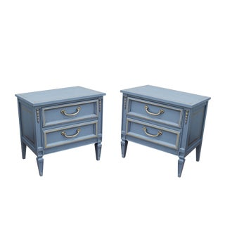 Mid Century Neoclassical Style Gray Nightstands - a Pair