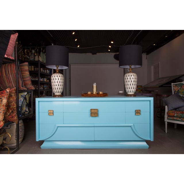 Truly stunning one of a kind piece from Sieling Modern professionally refinished in Sherwin Williams Slick Blue gloss...