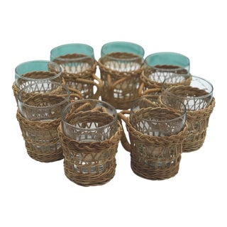 Vintage Boho Chic Wicker and Glass Cups For Sale