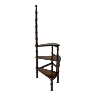 Vintage Faux Bamboo Wooden Spiral Ladder For Sale