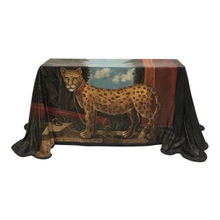 1980s Realism Draped Leopard Painting Console Table