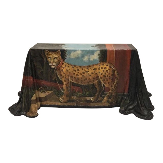 1980s Realism Draped Leopard Painting Console Table For Sale