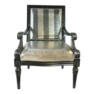 Leather Craft Carved Metallic Leather Arm Chair For Sale
