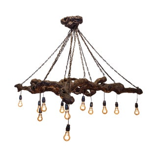 Antique French Grapevine and Chain Chandelier With Edison Bulbs For Sale