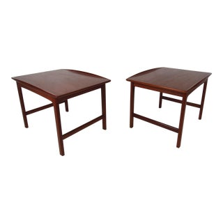 Pair of Vintage Modern Sculpted Teak End Tables For Sale
