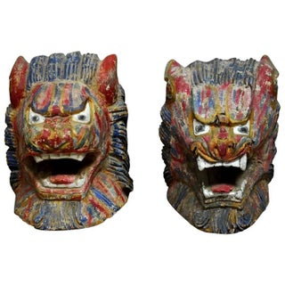 Asian Polychrome Carved Foo Lion Heads - a Pair