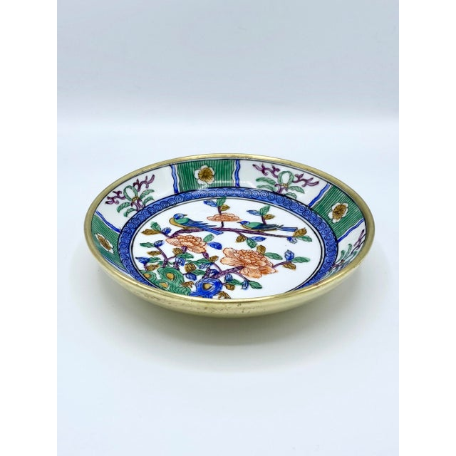 1950s Japanese Emerald Green and Blue Brass Cased Bowl with Birds For Sale - Image 11 of 11