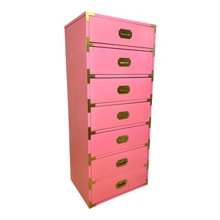 Vintage Campaign Tall Lingerie Chest of Drawers For Sale