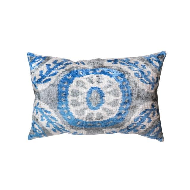 Pasargad Silk Velvet Ikat Pillow For Sale