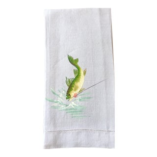 Gray Hand Towel With Painted Fish For Sale