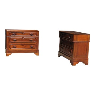Victorian Walnut Small Dressers - a Pair