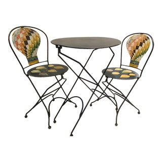 Vintage French Cafe Hot Air Ballon Bistro Table Set - 3 Pieces For Sale