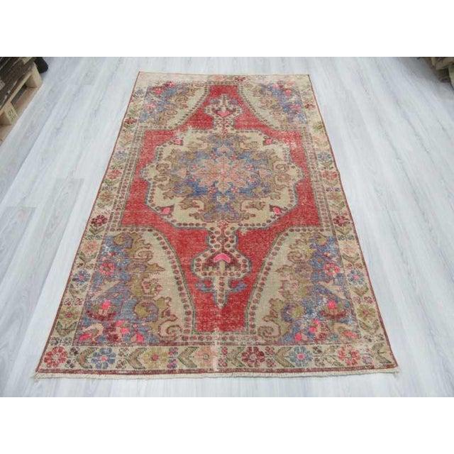 Islamic Distressed Turkish Konya Area Rug - 4′5″ × 7′4″ For Sale - Image 3 of 6