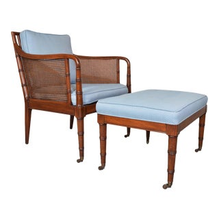 Hickory Chair & Ottoman Regency Style Faux Bamboo Caned Chair on Brass Casters For Sale