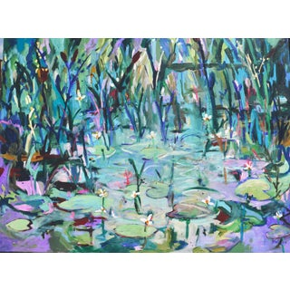 """Monet's Lily Pond, Giverny, France"" Contemporary Landscape Oil Painting by Martha Holden For Sale"