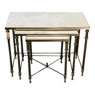 Neoclassical Marble & Brass Nesting Tables, in the Style of Maison Jansen For Sale