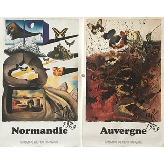 1969 French Salvador Dali Travel Posters, Normandie + Auvergne For Sale