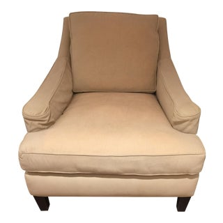 2000s Abc Home Tan Upholstered Mahogany Club Chair