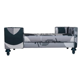 Modern Blue and Gray Mod Chaise For Sale
